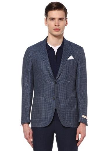 Beymen Collection Kareli Yün Blazer Ceket Mavi